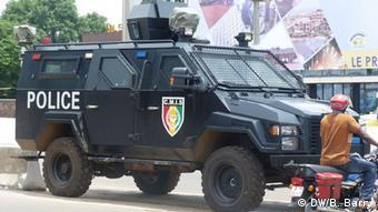 An armored police car