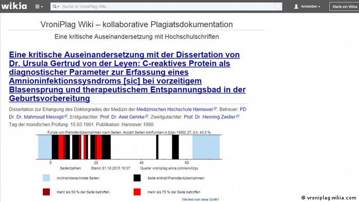 A screenshot from VroniPlag's analysis of a PhD by current German defense minister, Ursula von der Leyen (vroniplag.wikia.com)