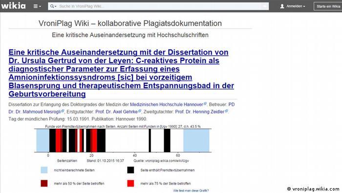 A screenshot from VroniPlag's analysis of a PhD by current German defense minister, Ursula von der Leyen