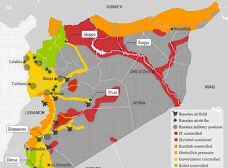 Karte Russische Präsenz und Luftangriffe in Syrien englisch