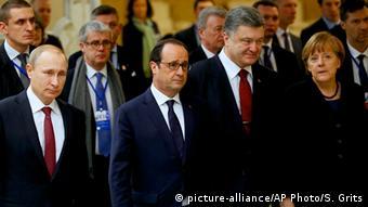 Саммит нормандского формата в Минске: лидеры РФ, Франции, Украины и Германии, 11 февраля 2015 г.