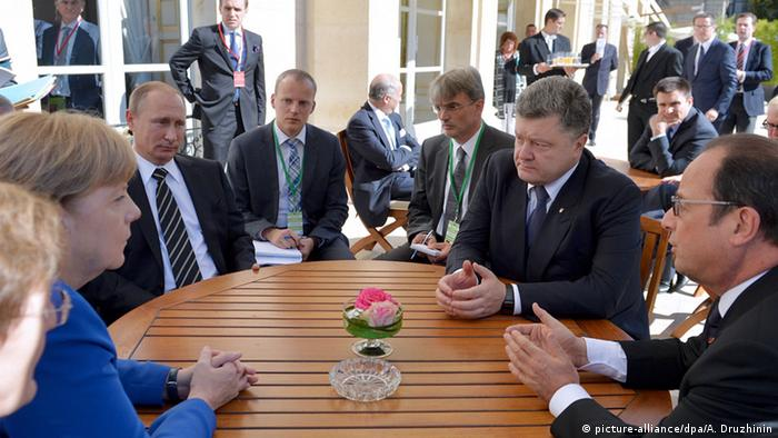 Paris Treffen Normandie-Quartett Merkel Poroschenko Hollande Putin (picture-alliance/dpa/A. Druzhinin)