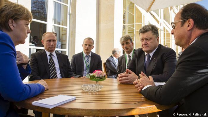 Paris Treffen Normandie-Quartett Merkel Poroschenko Hollande Putin