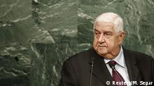 Syria's foreign minister Walid al-Moualem concludes his address to attendees during the 70th session of the United Nations General Assembly at U.N. Headquarters in New York, October 2, 2015. REUTERS/Mike Segar