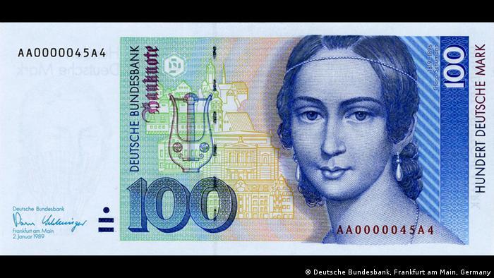 Портрет Клары Шуман и достопримечательности Лейпцига на купюре в 100 немецких марок образца 1990 года