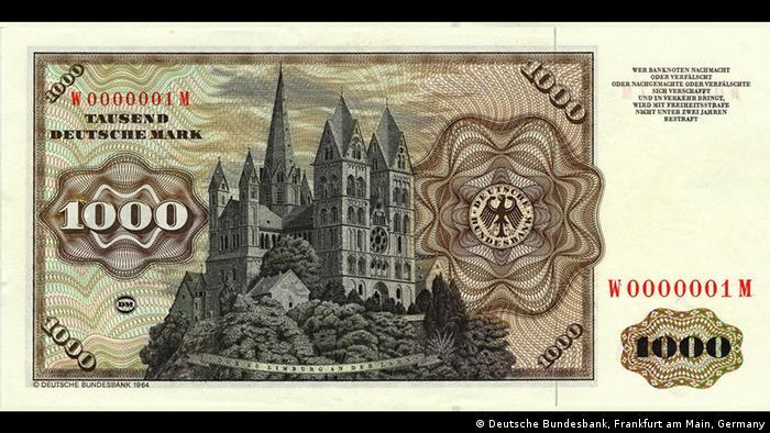 Лимбургский собор на купюре в 1000 немецких марок образца 1964 года