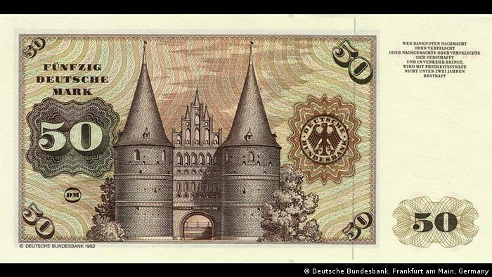 Голштинские ворота на купюре в 50 немецких марок образца 1962 года