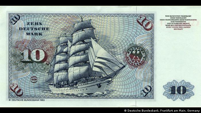 Горх Фок II на купюре в 10 немецких марок образца 1963 года