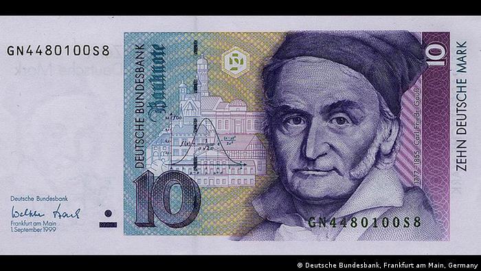 Портрет Карла Фридриха Гаусса и достопримечательности Гёттингена на купюре в 10 немецких марок образца 1991 года