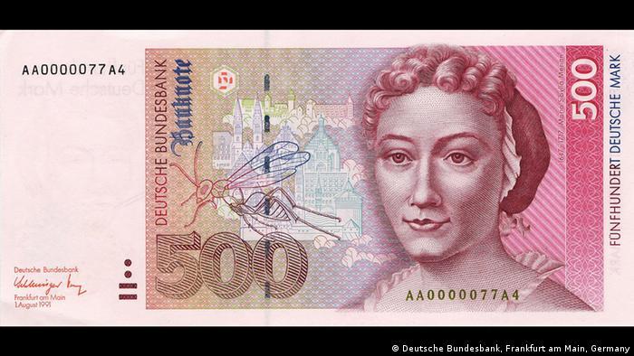 Портрет Марии Сибиллы Мериан и достопримечательности Нюрнберга на купюре в 500 немецких марок образца 1992 года