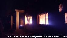 *3.10.2015 The Doctors Without Borders trauma center is seen in flames, after an explosion near their hospital in the northern Afghan city of Kunduz, Saturday, Oct. 3, 2015. Nine local staffers for Doctors Without Borders were killed and 30 were missing after the explosion that may have been caused by a U.S. airstrike. In a statement, the international charity said the sustained bombing took place at 2:10 a.m. (2140 GMT). Afghan forces backed by U.S. airstrikes have been fighting to dislodge Taliban insurgents who overran Kunduz on Monday. (Médecins Sans Frontières via AP)