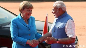 Indien Angela Merkel und Narendra Modi in Neu-Delhi