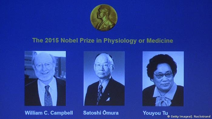 Nobel laureates in Physiology or Medicine 2015: William C. Campbell, Satoshi Omura and Youyou Tu. (Photo: JONATHAN NACKSTRAND/AFP/Getty Images)