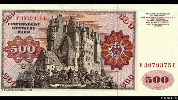 Замок Эльц на купюре в 500 немецких марок образца 1965 года