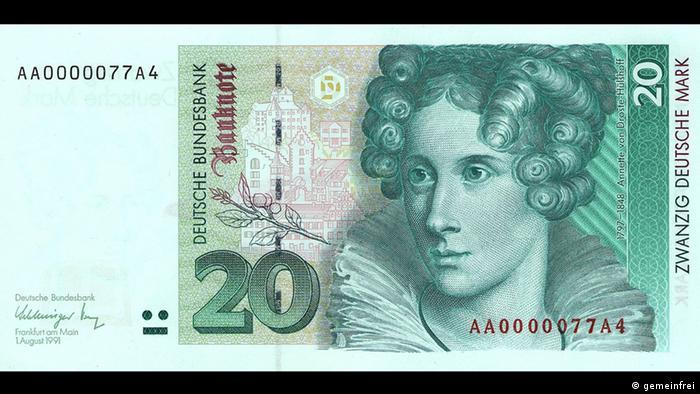 Портрет Аннетте фон Дросте-Хюльсхофф и достопримечательности Меерсбурга на купюре в 20 немецких марок образца 1991 года