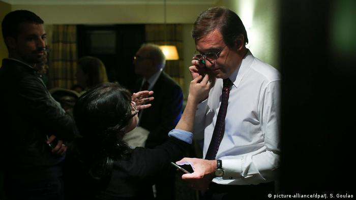 Portugal's Prime Minister Pedro Passos Coelho upon hearing the results of the October 4 elections