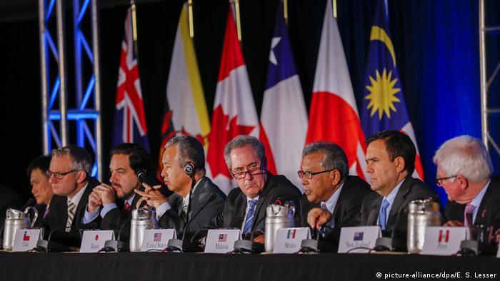 Міністри торгівлі країн-учасниць ТТП під час заключної прес-конференції
