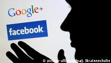 ARCHIV - ILLUSTRATION - Die Silhouette eines Mannes zeichnet sich am 21.09.2011 in Hannover vor einem Computerbildschirm mit den Logos der sozialen Netzwerke Google+ und Facebook ab. Facebook, Kundendaten, Mitarbeiterakten - die Masse digitaler Daten wächst unaufhörich. So akribisch die Daten meist gesammelt werden, so schlecht ist auch häufig ihr Schutz. Datenschützer schlagen Alarm - für echte Kontrollen fehlen in Niedersachsen Mitarbeiter. Foto: Julian Stratenschulte dpa/lni (zu lni 0842 vom 14.12.2011) +++(c) dpa - Bildfunk+++