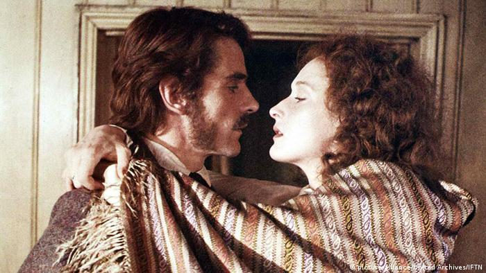 Film still French Lieutenant's Woman , Jeremy Irons and Meryl Streep with her arms around his neck,