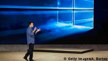 NEW YORK, NY - OCTOBER 06: Terry Myerson, executive vice president of operating systems at Microsoft, speaks at a media event for new Microsoft products on October 6, 2015 in New York City. Microsoft unveiled a virtual reality head set titled the HoloLens, a tablet titled the Surface Pro 4, a laptop titled the Surface Book, a phone titled the Lumia 950 and a biometrics wristband titled the Band 2. (Photo by Andrew Burton/Getty Images)