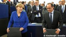 Frankreich Straßburg EU Parlament Merkel und Hollande