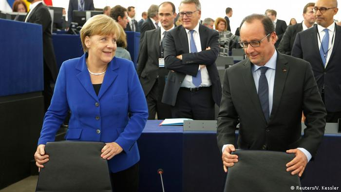 Merkel und Hollande at EU parliament.