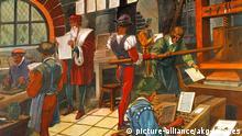 Gutenberg / Schulwandbild um 1960 Gutenberg, Johannes Erfinder des Buchdrucks mit beweglichen Lettern, um 1397 - Mainz 3.2.1468. - 'Anfang der Buchdruckerkunst'. - Schulwandbild. Farbdruck nach unbez. Aquarell, o.O.u.J. (um 1960). Dortmund, Westfaelisches Schulmuseum. E: Gutenberg / School Poster / c.1960 Gutenberg, Johannes Inventor of the printing press with movable type. c.1397 - Mainz 3.2.1468. - 'The beginning of book printing.' - School poster. Col.print after unsigned watercolour, no location or date (c.1960). Dortmund, Westfaelisches Schulmuseum.
