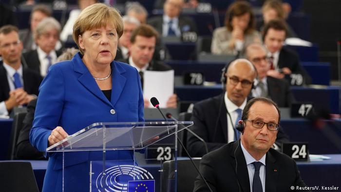 Merkel and Hollande speak in the EU parliament