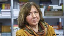 Belarussian writer Svetlana Alexievich is seen during a book fair in Minsk, Belarus, in this February 8, 2014 file photo. Alexievich won the 2015 Nobel Prize for Literature, the award-giving body announced on October 8, 2015. REUTERS/Stringer/Files TPX IMAGES OF THE DAY