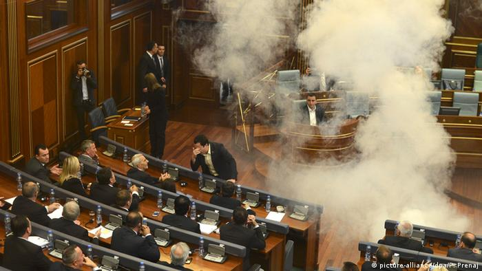 Tear gas in Kosovo parliament