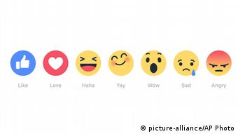 Newly introduced Facebook Reactions buttons