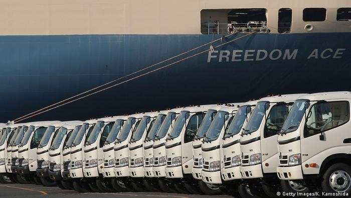 Japanese trucks ready for shipment at the Port of Yokohama (Copyright: Getty Images)