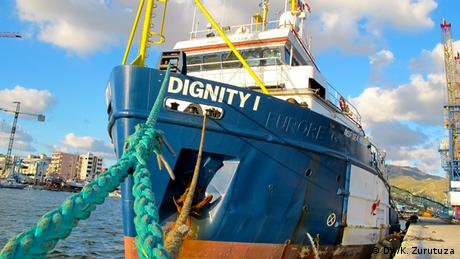 The Dignity 1 at Sicily's port of Trapani