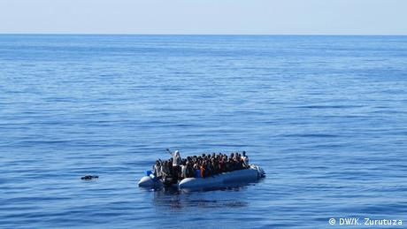 A raft in the Mediterranean Sea