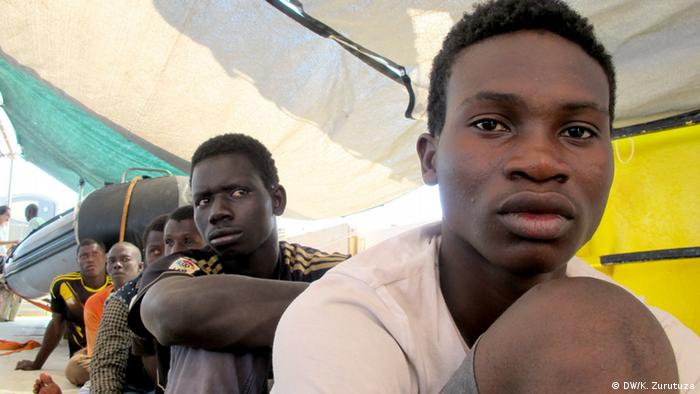 Refugees aboard the Dignity 1 rescue ship