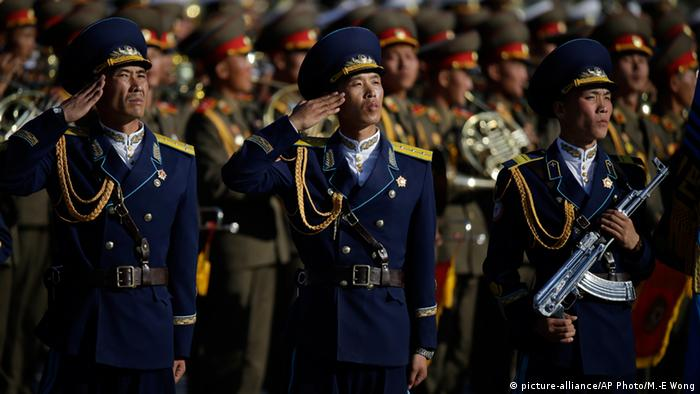 North Korean soldiers saluting