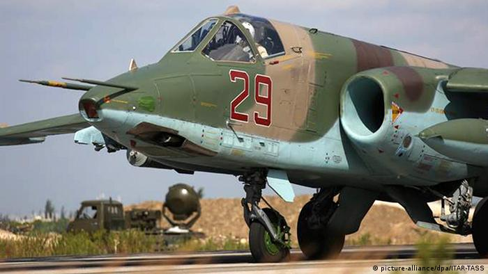 A Russian Air Force Sukhoi Su 25SM at a base in Syria