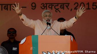 Indian Prime Minister Narendra Modi gestures as he delivers a speech during an election rally in Aurangabad in Bihar on October 9, 2015 (Photo: MONEY SHARMA/AFP/Getty Images)