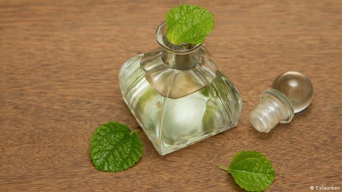 Flasche mit Pfefferminzöl, Bildergalerie Tipps gegen Kopfschmerzen