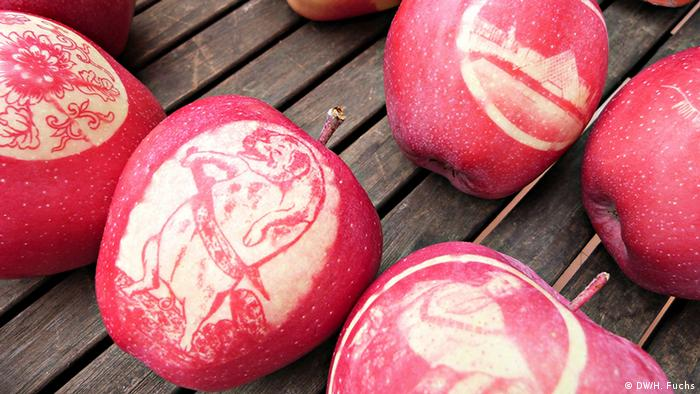 Apples with sun stencils