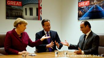 Merkel with Hollande and Cameron