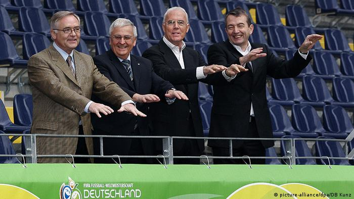 From left to right: Horst Schmidt, Theo Zwanziger, Franz Beckenbauer and Wolfgang Niersbach, pictured in 2005 in Frankfurt.