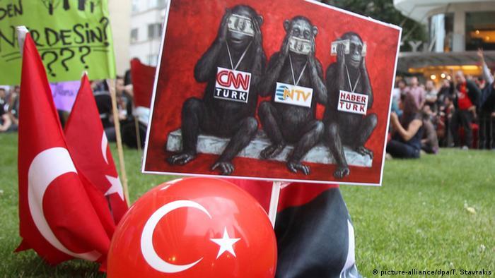 Участники демонстрации за свободу прессы в Турции с национальными флагами