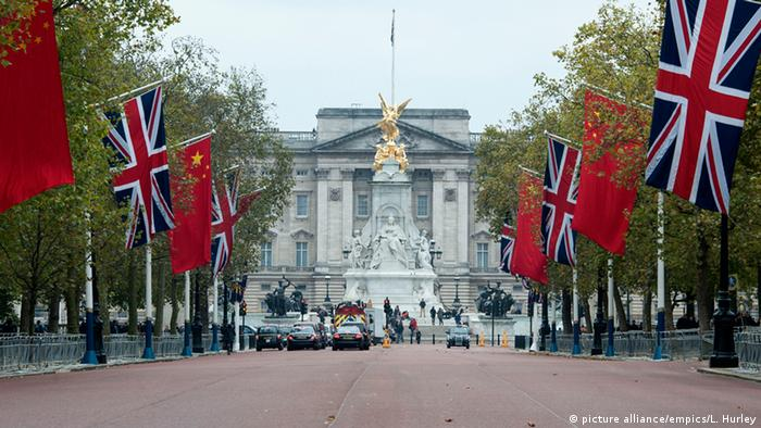 Chinese flags along The Mall in London, as preparations begin for the Chinese State visit