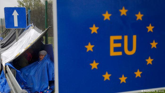 خیمه مهاجران در نزدیکی مرز اسلوانیا و کرواسیا در اتحادیه اروپا
