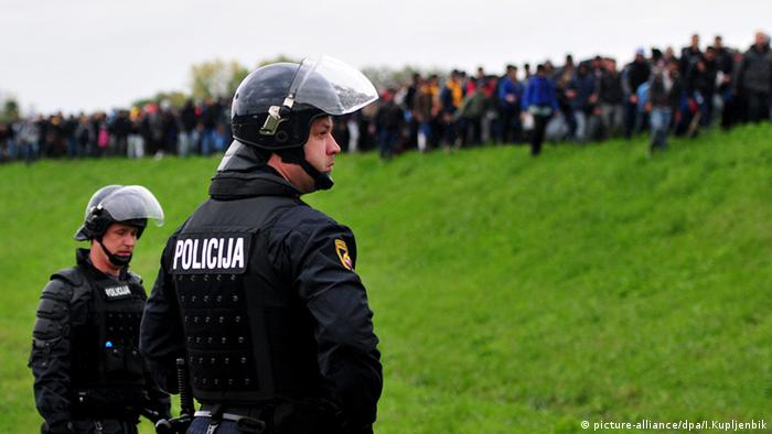 Slovenian police at the border