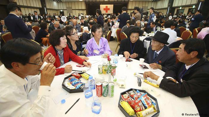 North and South Korean family members meet during the separated family reunions at Mount Kumgang resort