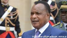 Congolese president Denis Sassou Nguesso talks to the press after a meeting with French president Francois Hollande at the Elysee Palace, in Paris, France, on July 7, 2015. Photo Ammar Abd Rabbo/ABACAPRESS.COM picture-alliance/dpa/A. Ammar