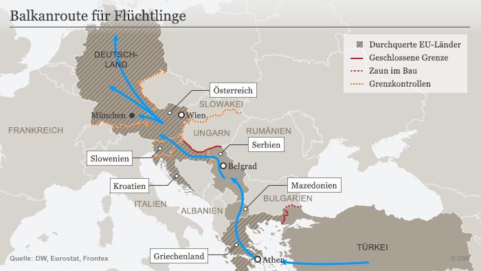 Karte Balkan Fluchtroute 20.10.2015 Deutsch