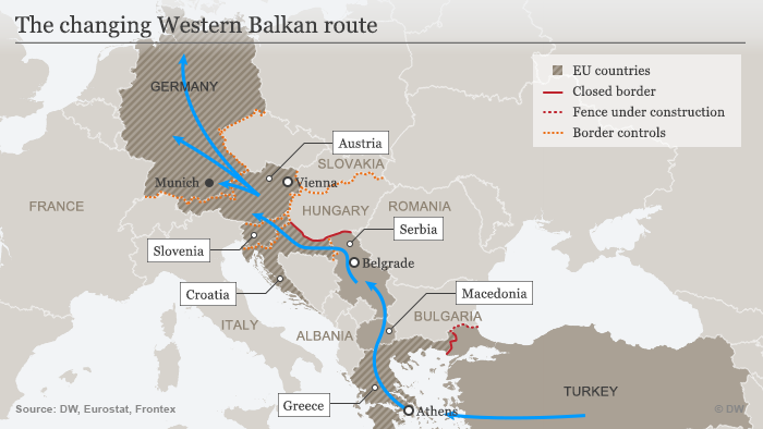 A map of the Balkan route refugees have been taking to reach northern Europe